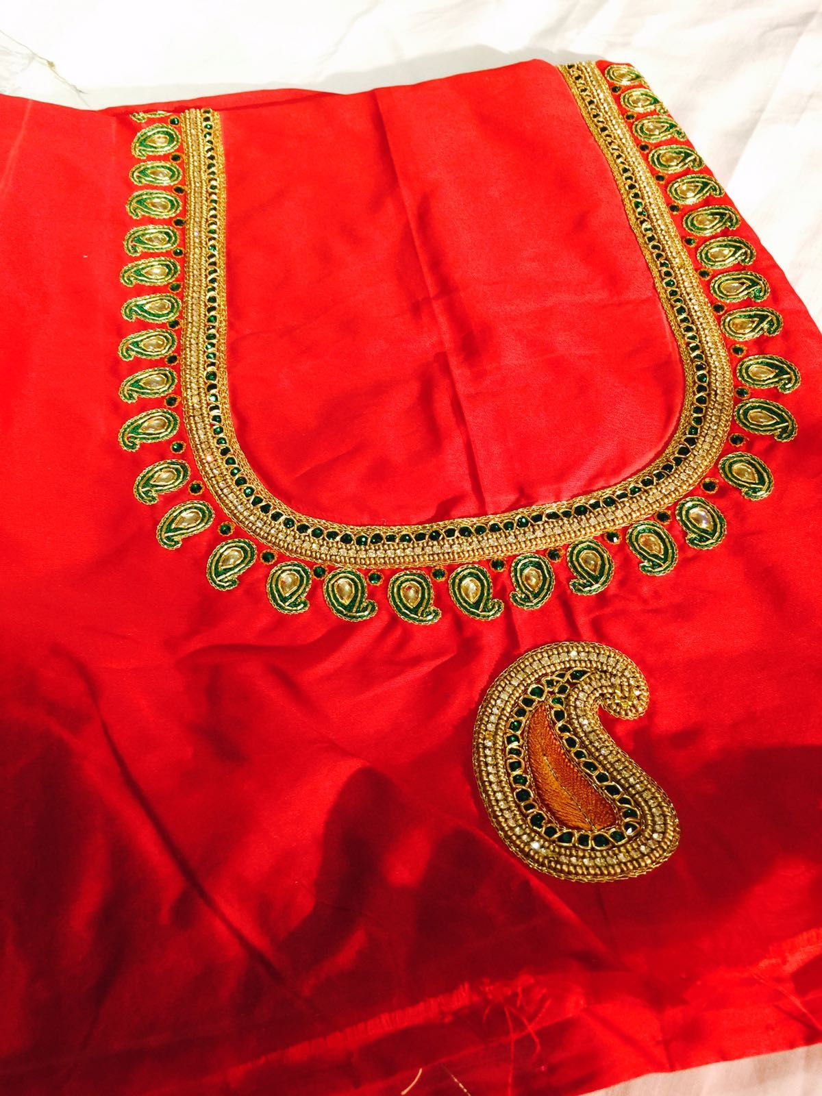 9c386629dd34bd Aari Embroidery, Indian Embroidery, Red Blouses, Cotton Blouses, Simple  Blouse Designs,