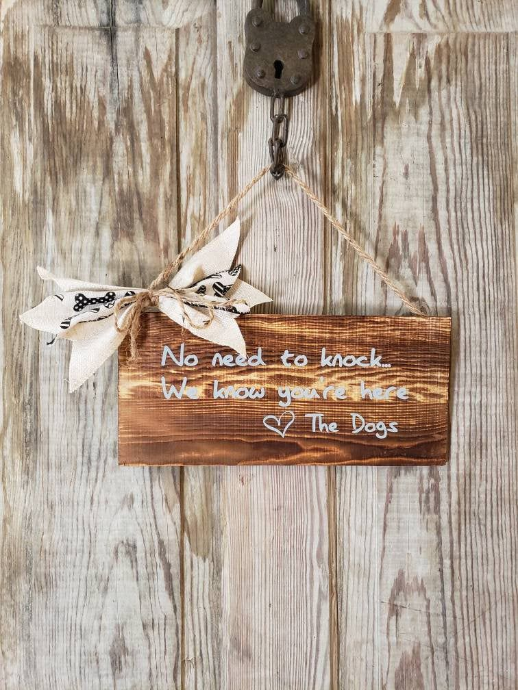 No Need To Knock-No Soliciting Sign-No Solicitation Funny Dog Sign-Wreath Embellishment-Dog Lover Gift-New Home Gift-New Puppy Gift