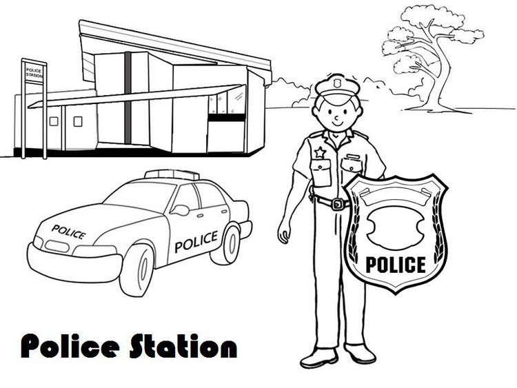 Policeman Outside Police Station Coloring Page For Kids Coloring Pages For Kids Zoo Animal Coloring Pages Police Station