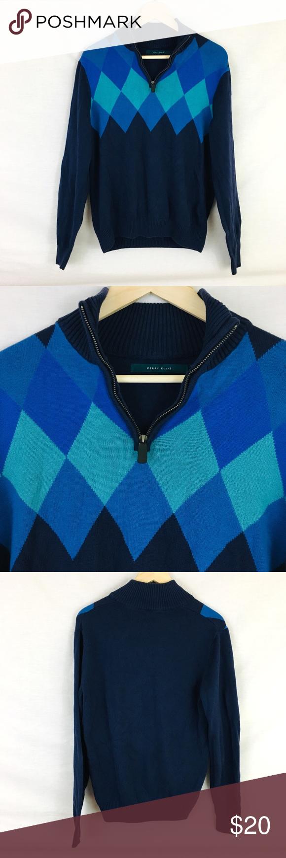 732188d021 Perry Ellis Quarter Zip Diamond Pattern Sweater M Perry Ellis Pullover  Sweater - Men s size M