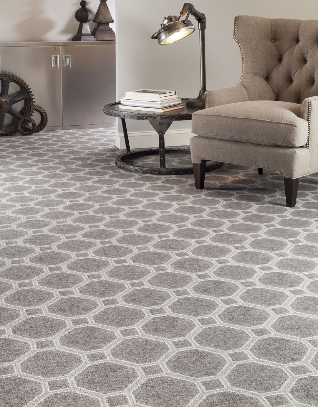 If your style is more industrial, patterned carpet can add