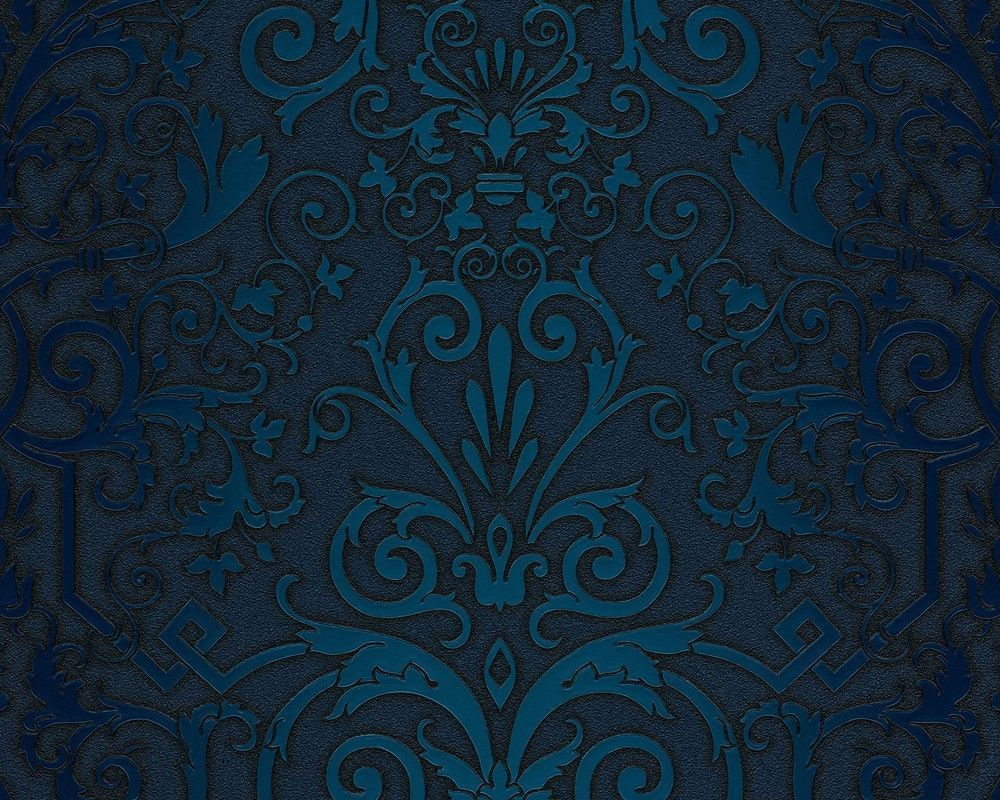 Wallpaper Versace Home baroque texture blue turquoise