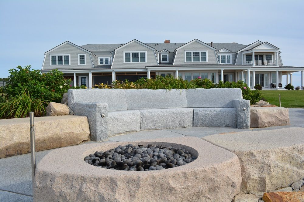 What An Incredible Backyard Fire Pit At This Oceanfront