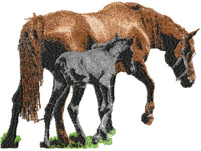 Horse Mother And Foal Free Embroidery Design Machine Emb Animals