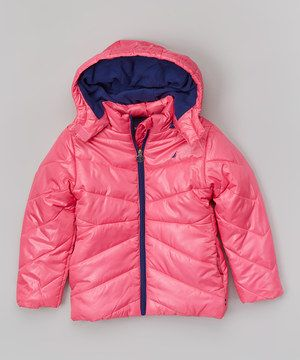 Another great find on #zulily! Nautica Pink Hooded Puffer Coat - Girls by Nautica #zulilyfinds