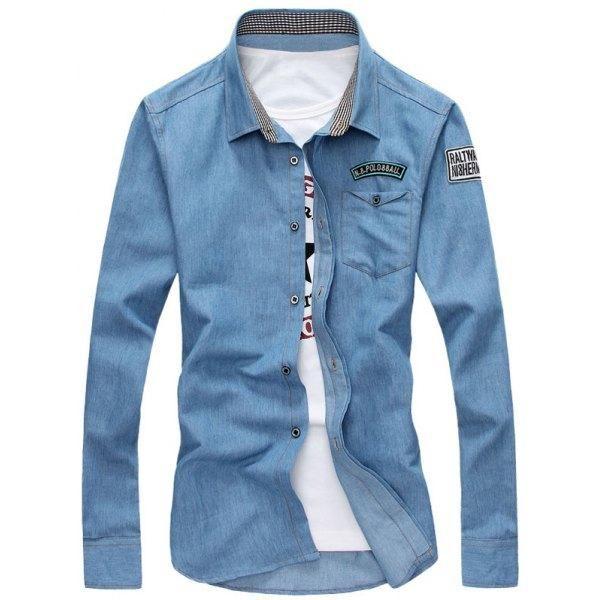 RoseWholesale - Rosewholesale Turndown Collar Long Sleeve Shirt - AdoreWe.com