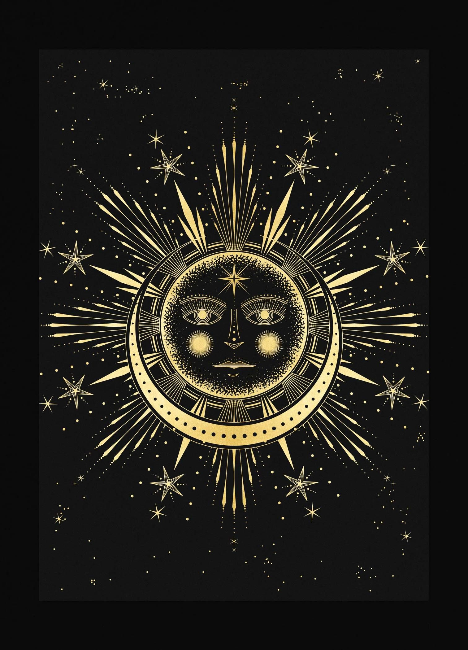Sun Moon Affair Art Print In Gold Foil And Black Paper With Stars And Moon By Cocorrina Moon Art Sun Art Art Prints