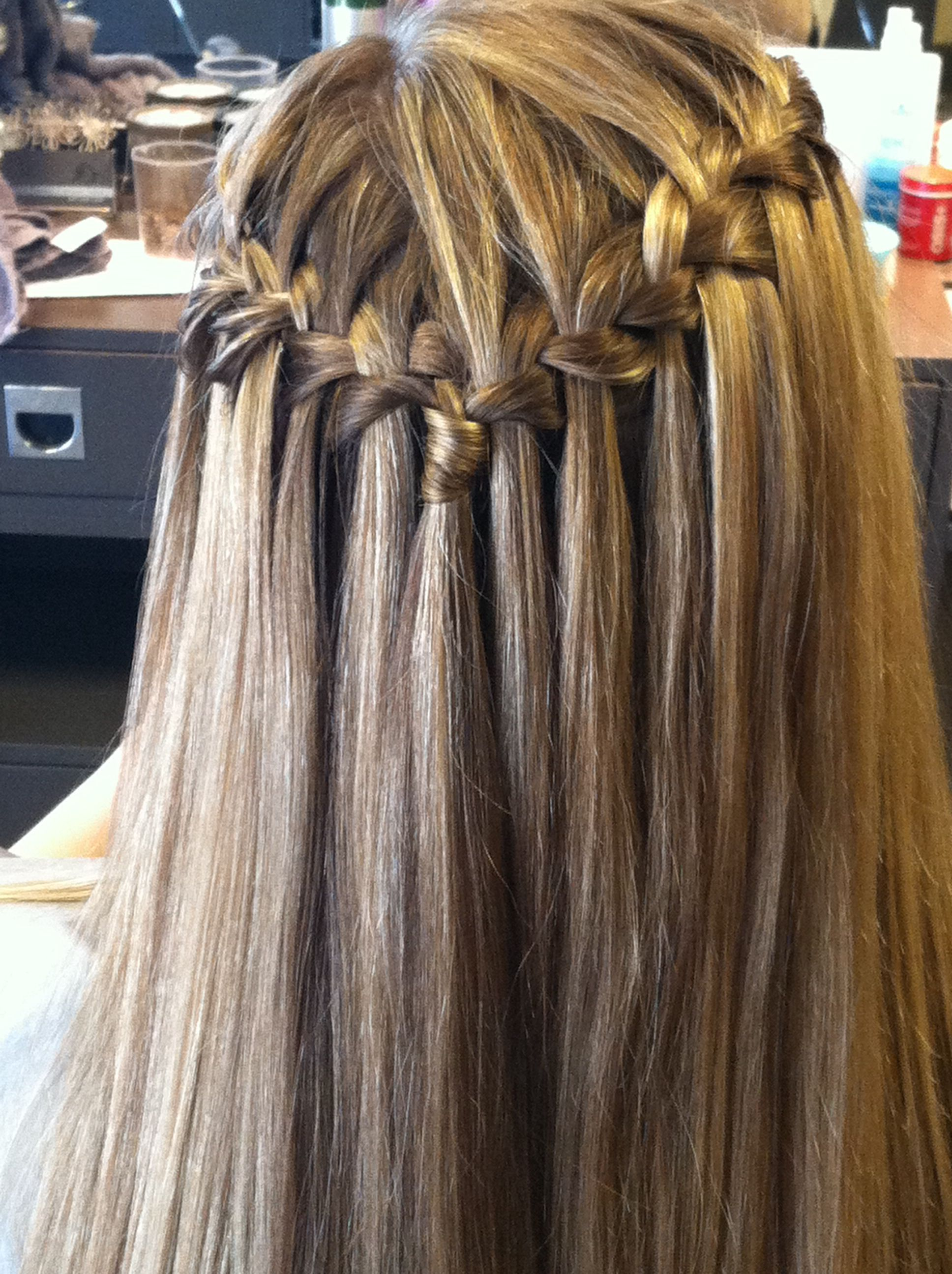 waterfall braid with straight hair