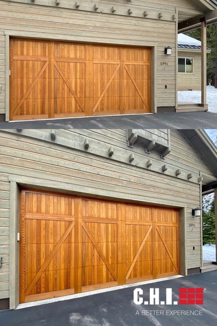 Overlay Carriage House Garage Door On Mountain Home In Truckee Ca In 2020 Carriage Style Garage Doors Carriage House Garage Doors Wooden Garage Doors
