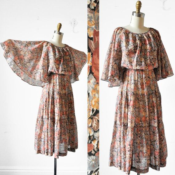 SALE Vintage 70's ANGEL WING Hippie Dress Floral by BombyxVintage, $42.00