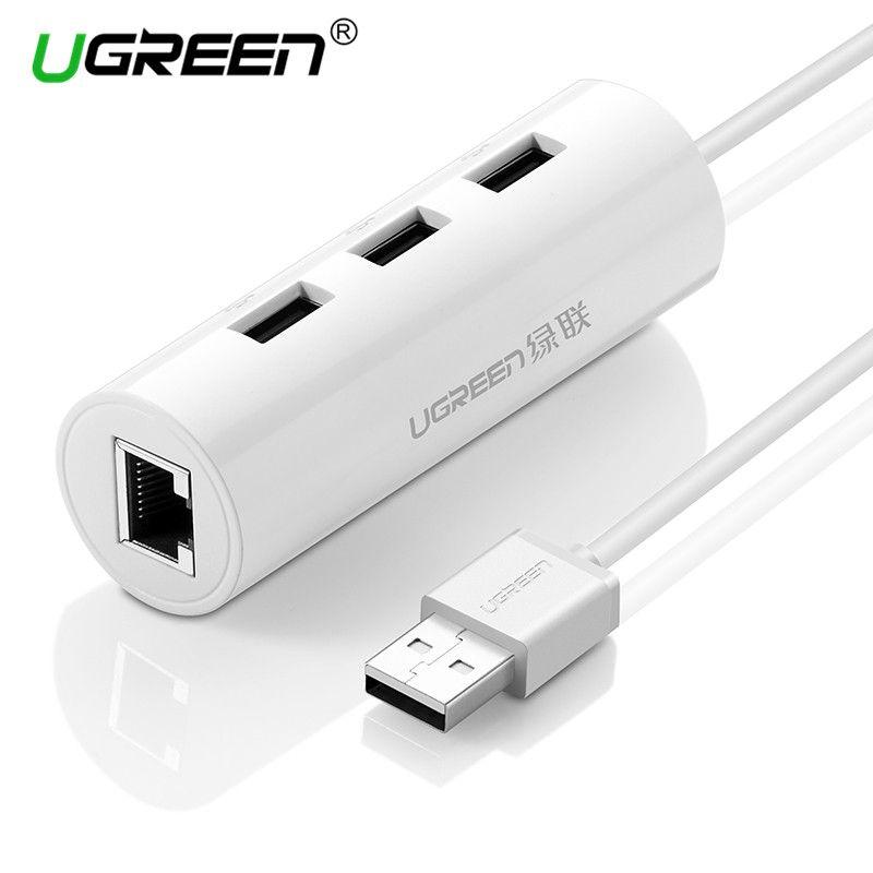 Ugreen Usb Ethernet Adapter With 3 Port Usb 2 0 Hub Splitter Rj45 Lan Network Card Usb To Ethernet Adapter Network Card Hubs Usb Rj45 Networking