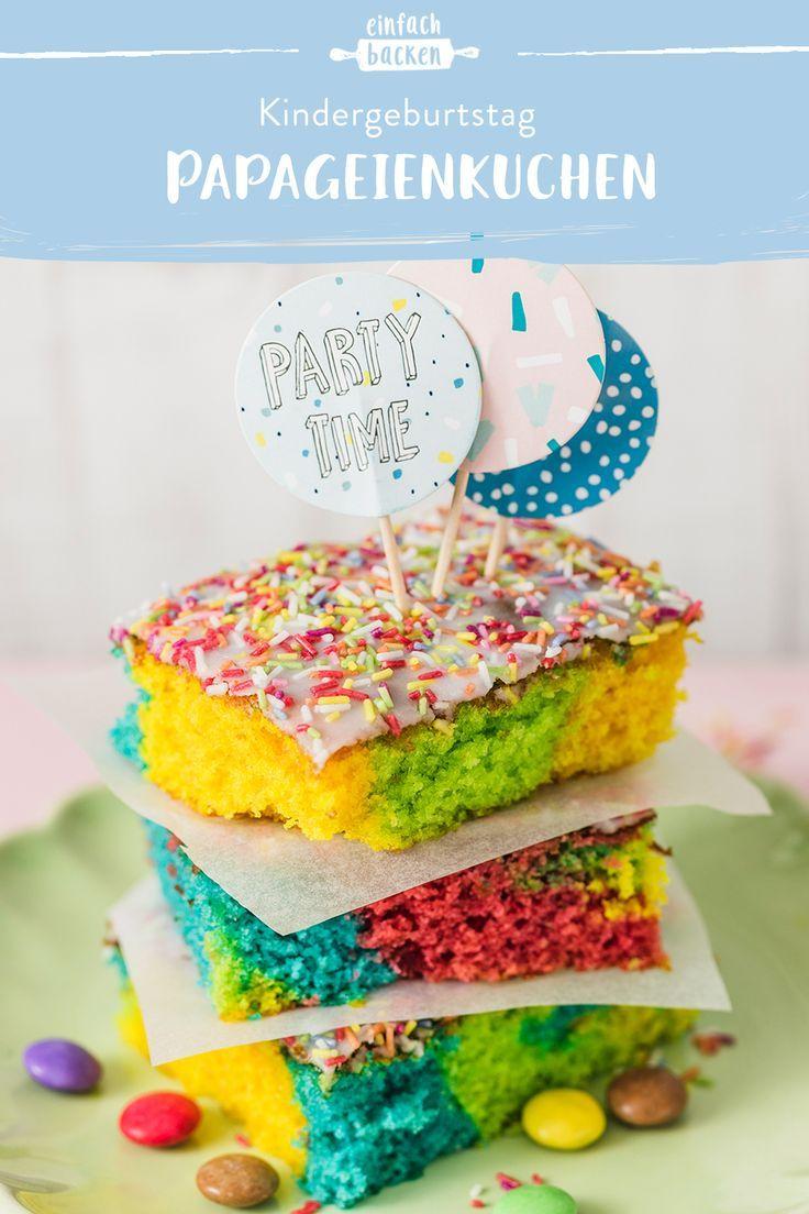 Papageienkuchen – Blechkuchen für Kinder Geburtstag
