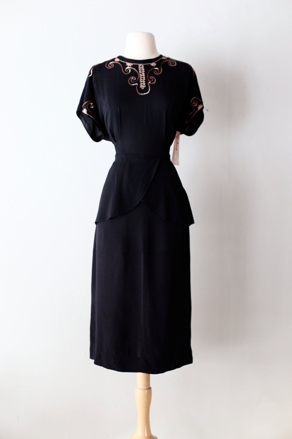 Vintage s rayon cocktail dress s black rayon dress with