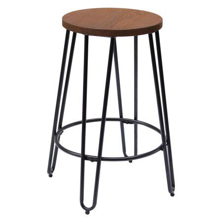 Astonishing Quinn Round Wood Top Backless Barstool Products Backless Ocoug Best Dining Table And Chair Ideas Images Ocougorg
