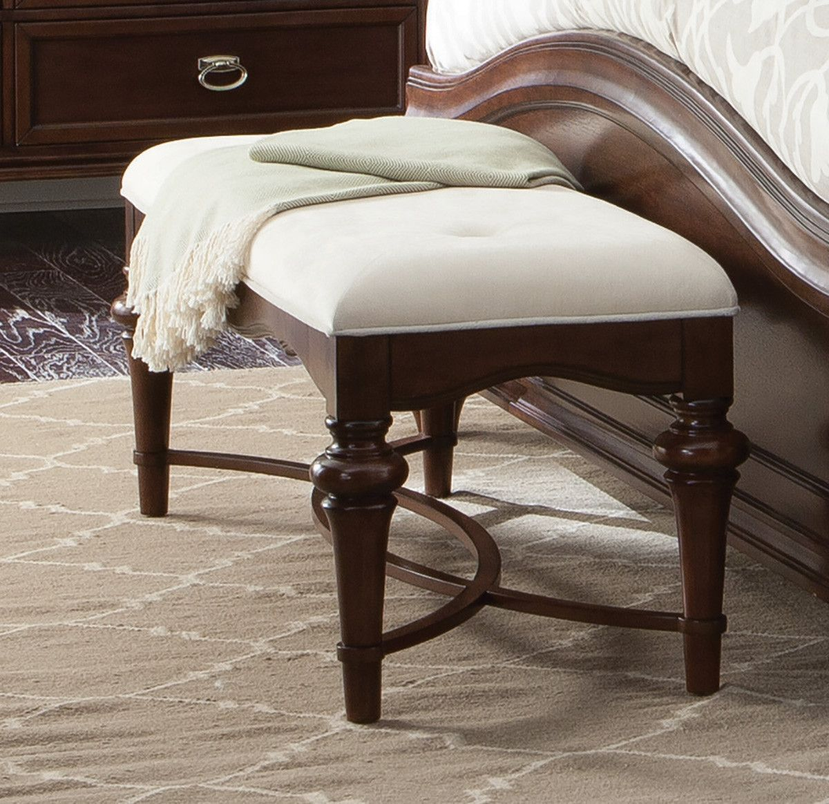 Sherwood Bench with Curved H Stretcher - 203617