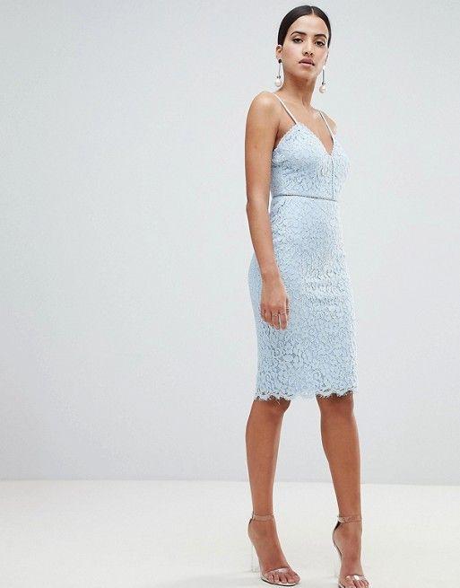 44fbc8c4f3 Missguided Cami Strap Lace Midi Dress in 2019
