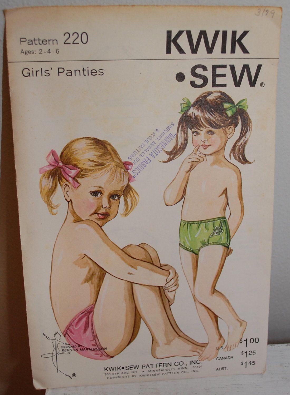 Vintage 1960s Girls\' Underwear Panties Sewing Pattern
