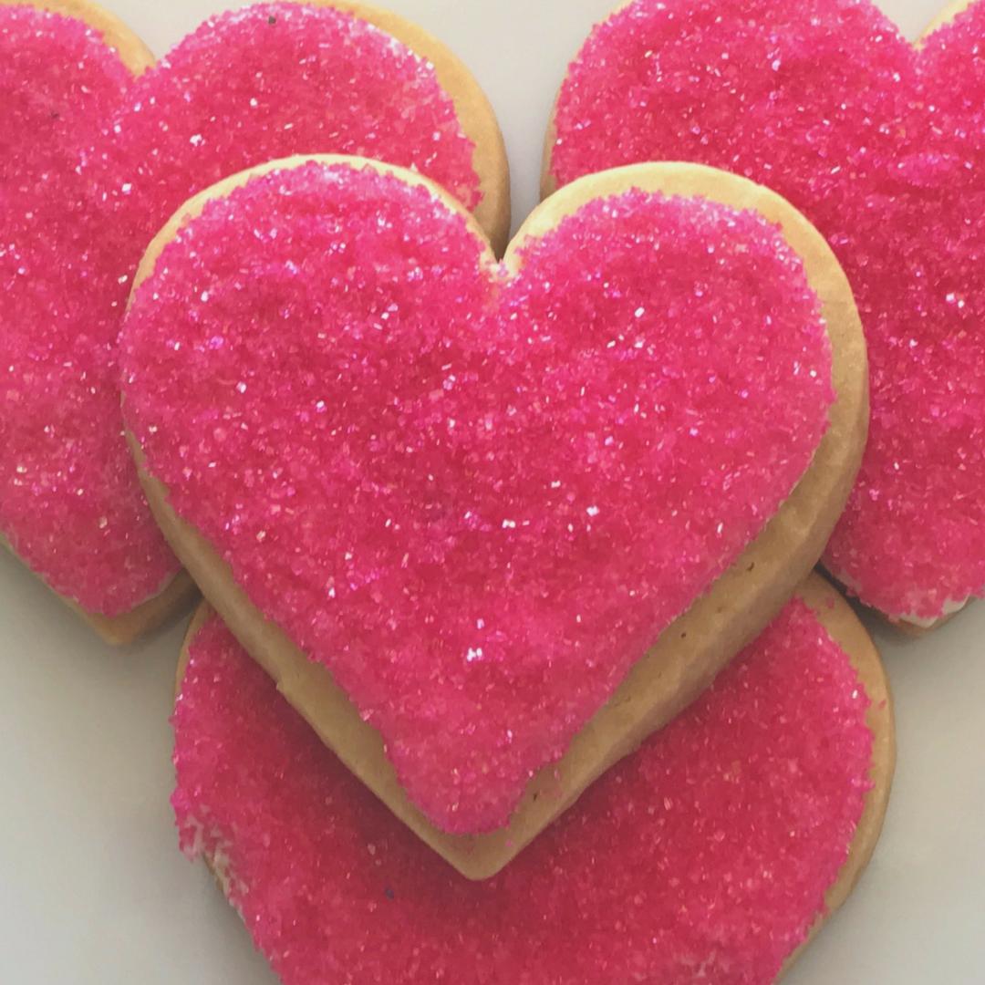 Pink Heart Shaped Sugar Cookies 14 Cookies Big Heart Shaped Sugar Cookies Heart Shaped Cookies Pink Heart
