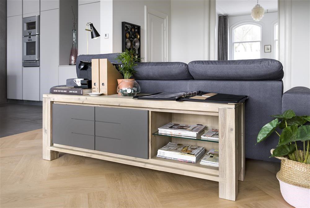 Lowboard Multiplus - Henders & Hazel, met deurtjes in antraciet. Optioneel ook in wit, geel of hout verkrijgbaar.