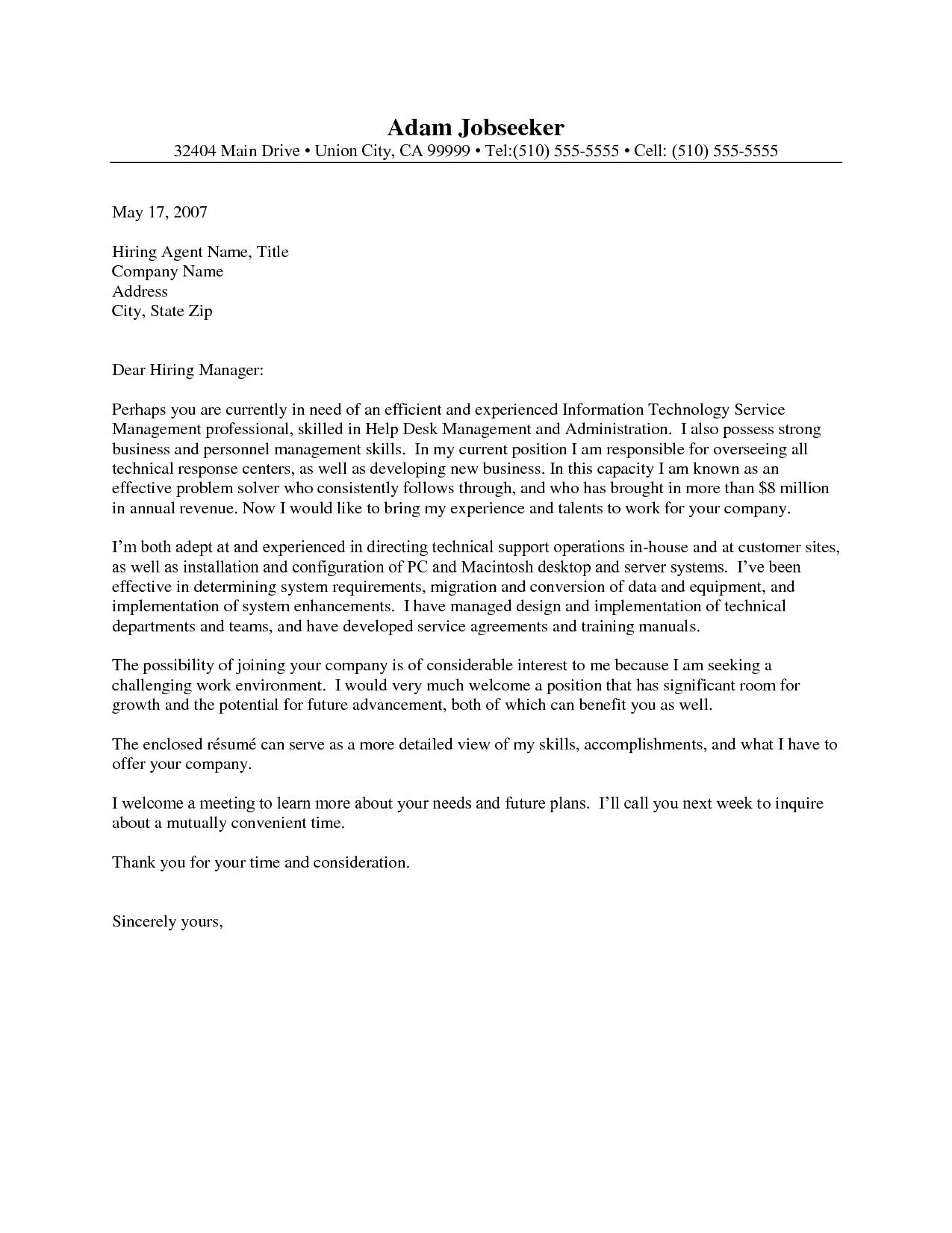 help desk manager cover letter