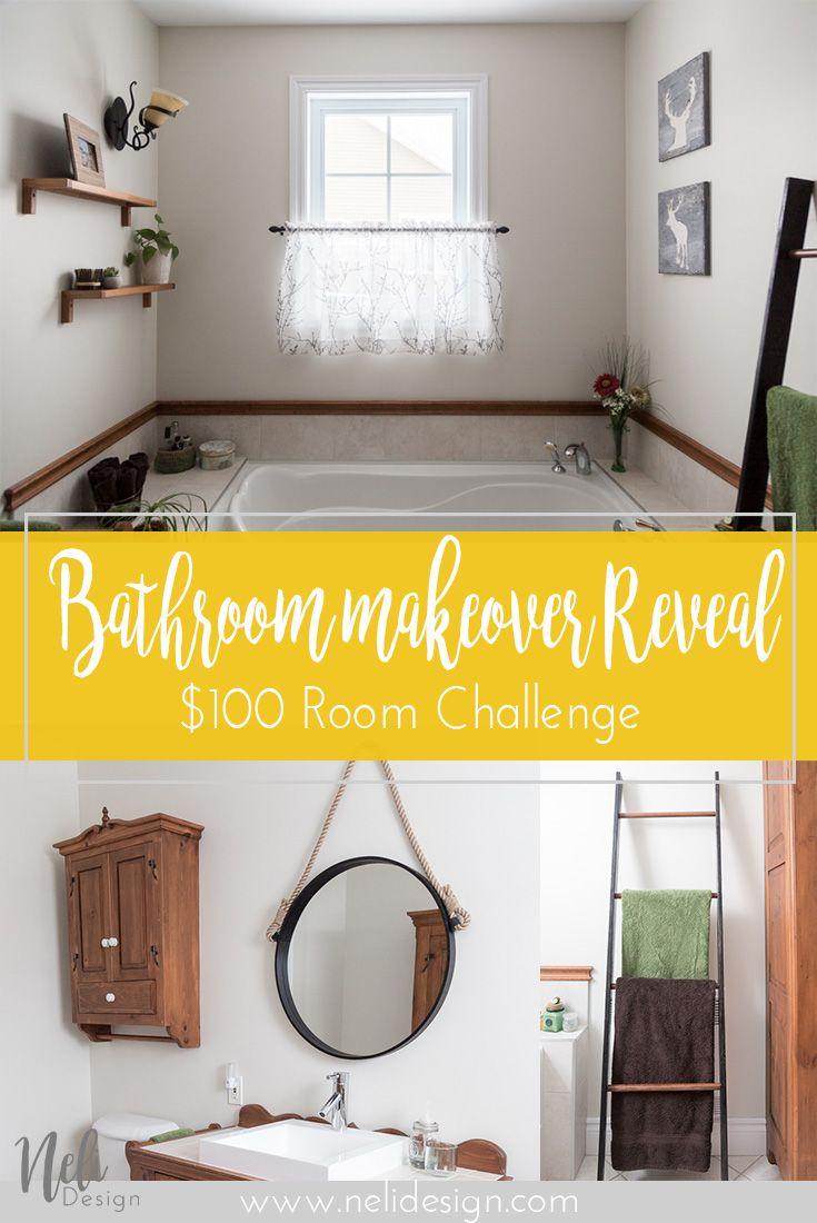 $100 Room Challenge / Bathroom makeover / Reveal   Pinterest ...