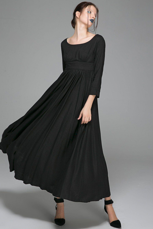 Black linen dress women dress linen dress party dress maxi dress