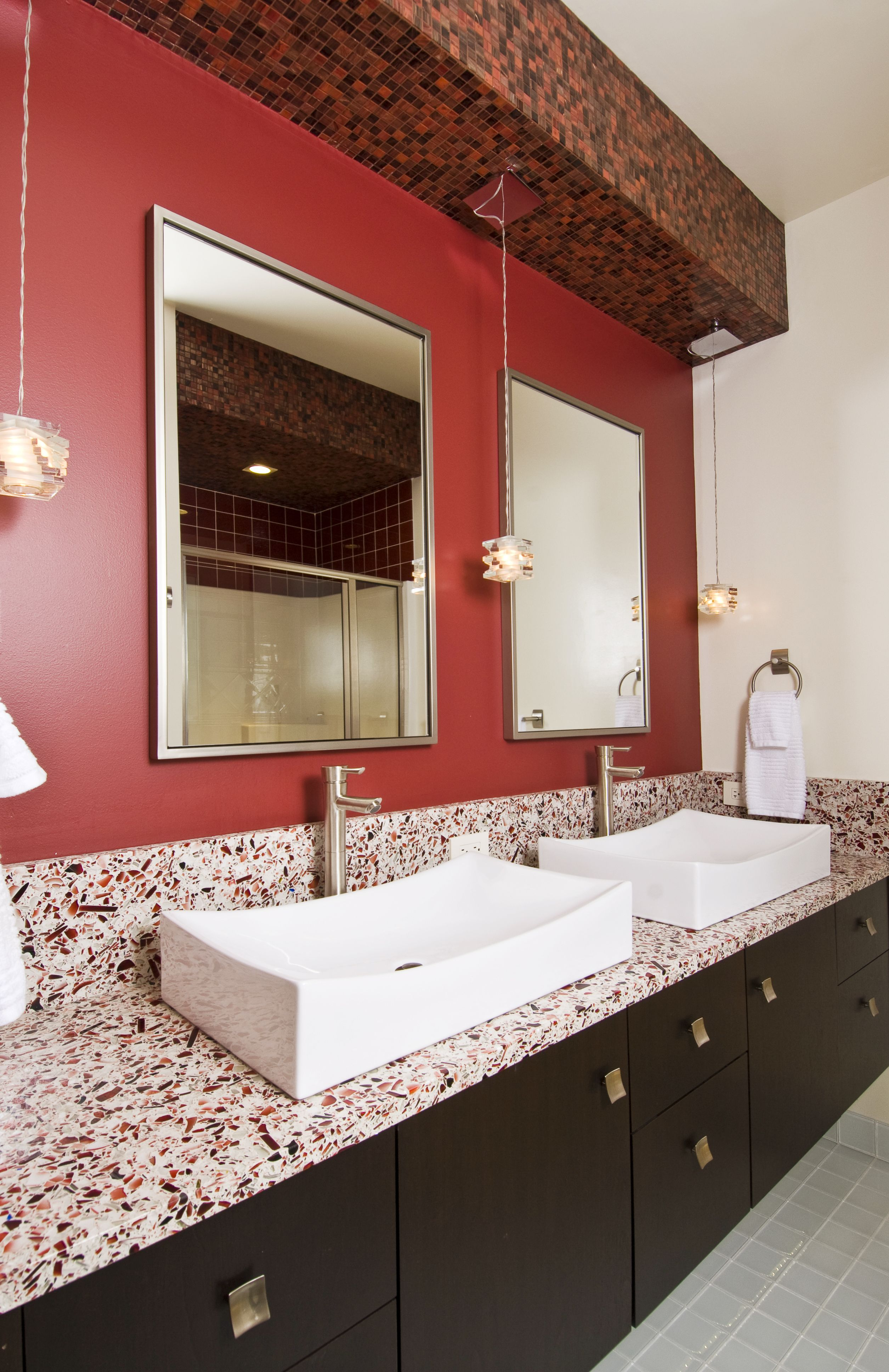 ruby red  bathroom red recycled glass countertops glass