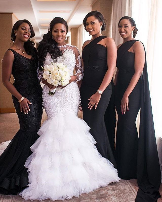 We Wouldn T Say No Those Bm S Dresses On The Right Hey Black Isn T Bad Afterall Libraneyephotogr Beaded Wedding Gowns Wedding Dresses Mermaid Wedding Dress
