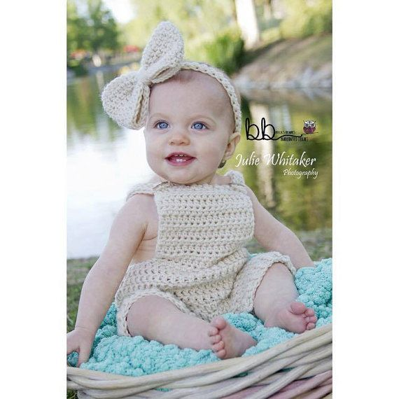 Romper and Headband with Bow - Size Newborn to 12 month - Made to order - Crochet