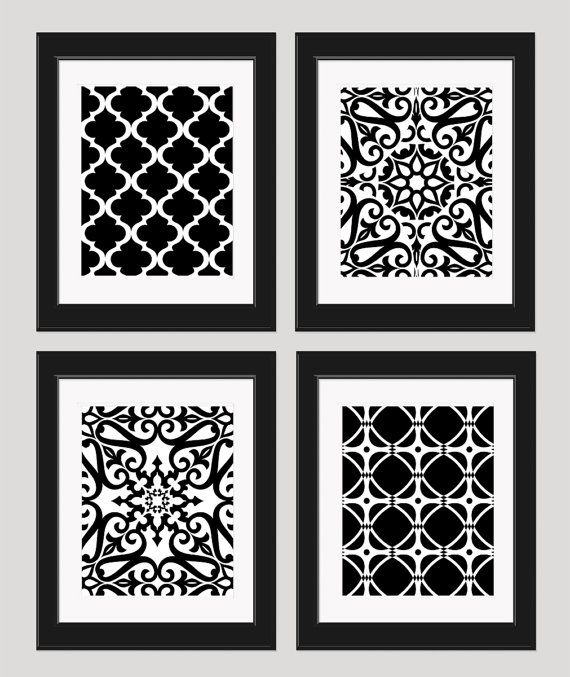 Items similar to black and white art geometric art modern art set of 4 8x10 prints dining room art bedroom art black and white prints