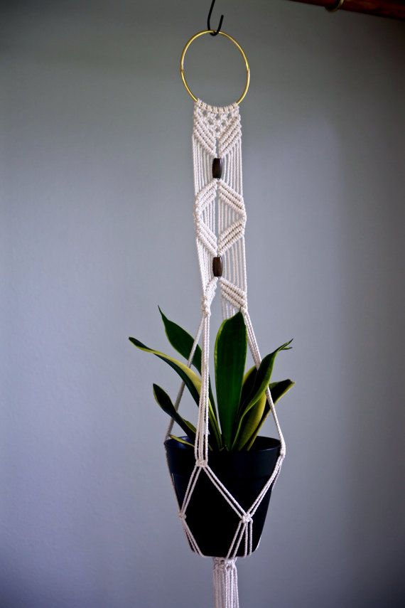 Macrame Plant Hanger 40 Natural White Cotton W By