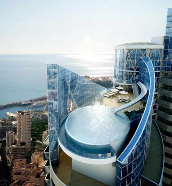 World\s Most Expensive PentHouse @ The Odeon Tower, a slick new skyscraper in Monaco set to be completed in summer 2014, set to be the most expensive building per square meter in the world...Dreamed up by architect Alexander Giraldi in a style inspired by belle epoque design of early 20th century Paris. via Archh.com