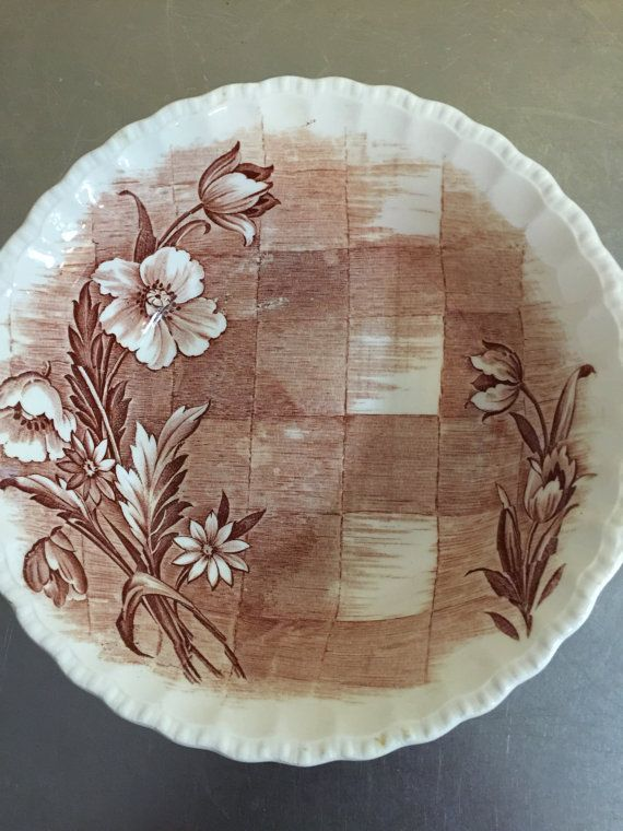 Pretty vintage brown and white Grindley Trellis transferware platter made in England