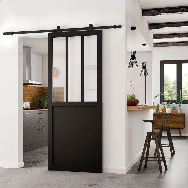 Porte Coulissante Atelier Vitree Fabrik Noir H 204 X L 73 Cm Leroy Merlin En 2020 Porte Coulissante Atelier Porte Coulissante Porte Coulissante Cuisine