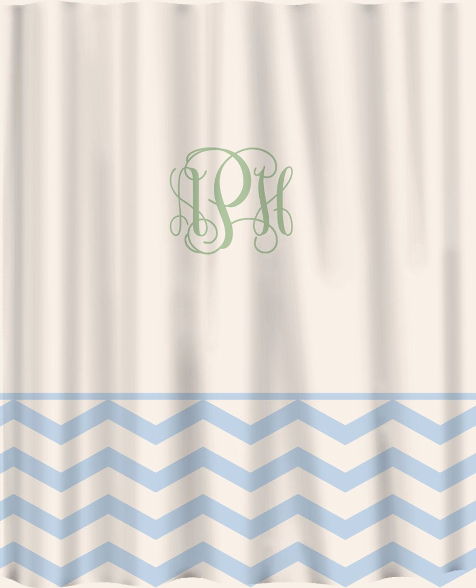 Custom Shower Curtain Solid With Chevron Lower Border Personalized 7800 Via Etsy