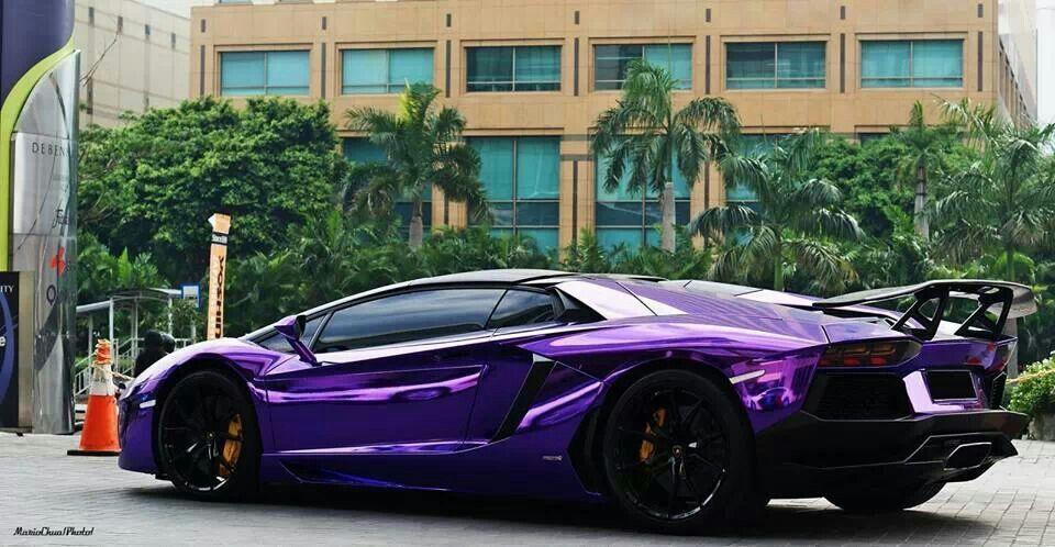 Lamborghini Aventador with chrome purple wrap.. | Hot ...