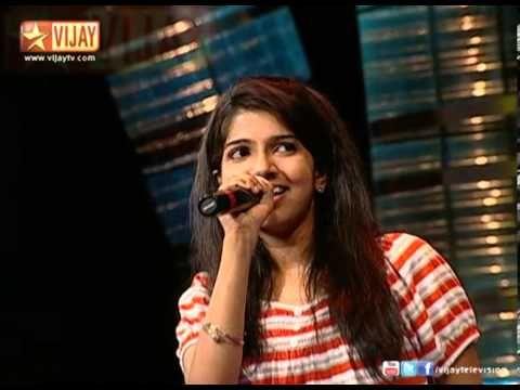 Mahitha sings Machan Meesai during the Mabbu round of Vijay