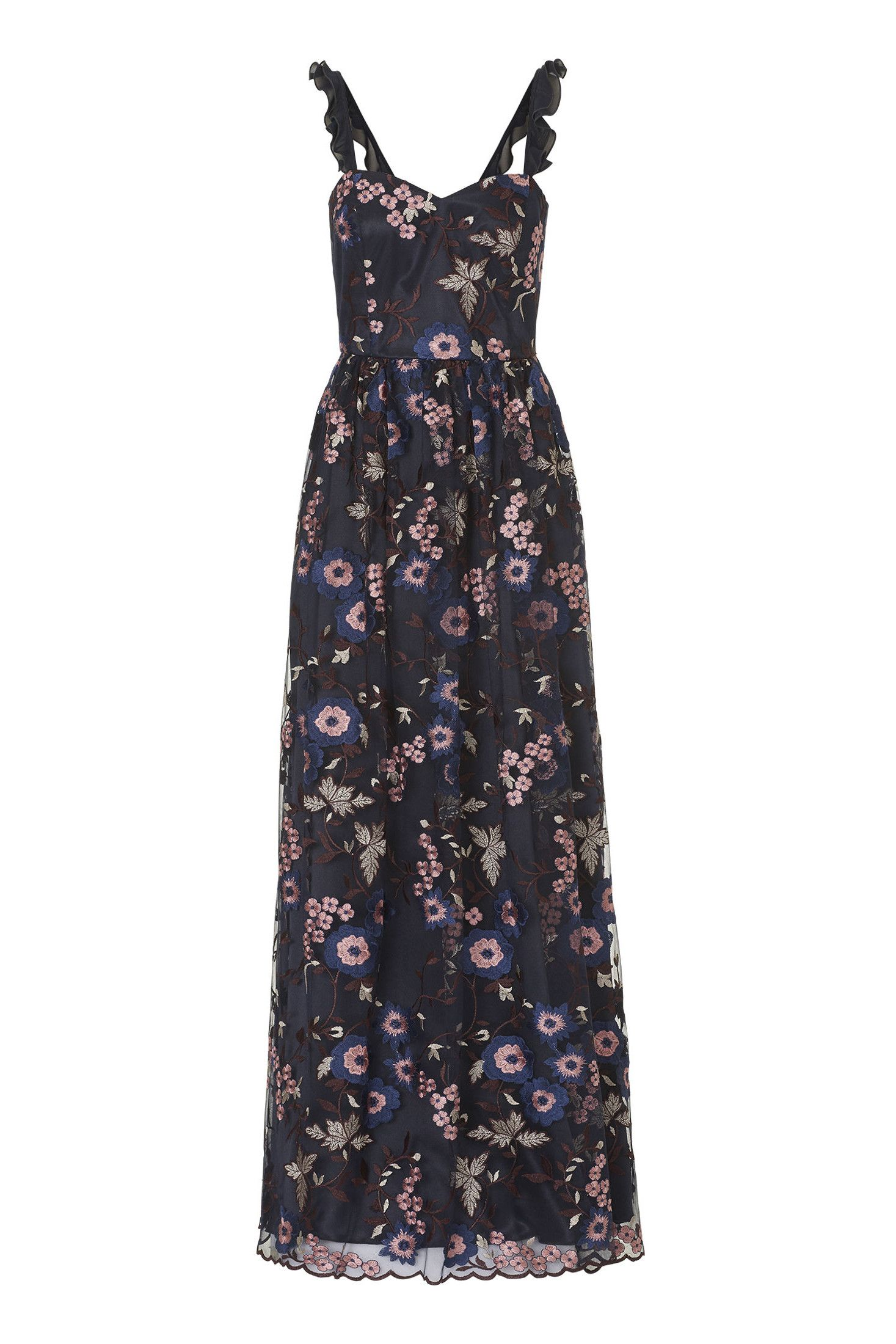 tüllkleid mit wunderschönen blüten elegantes abendkleid von