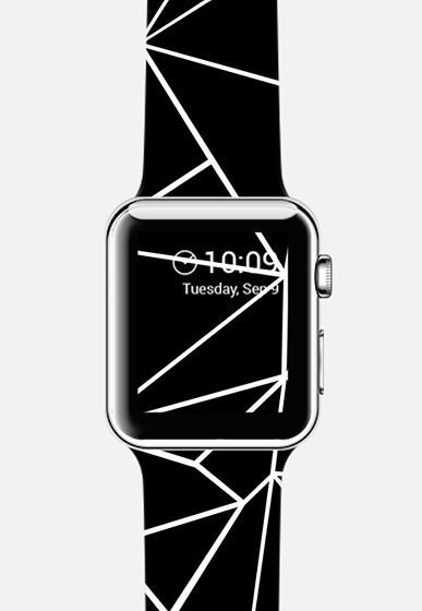 Abstraction Outline White on Black Apple Watch Band by Emeline Tate for Casetify #geometric #black #blackandwhite #apple #watch #strap #applewatchstrap #casetify #emelinetate