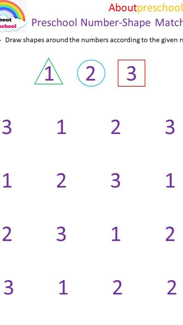 Preschool Number-Shape Matching