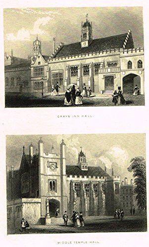 """Tallis's London - """"GRAYS INN HALL & MIDDLE TEMPLE HALL"""" - Steel Engraving - 1851"""