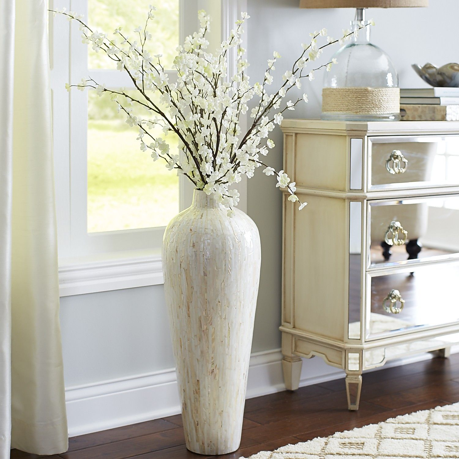 Ivory Mother-Of-Pearl Floor Vase | Ivory, Pearls and Living rooms