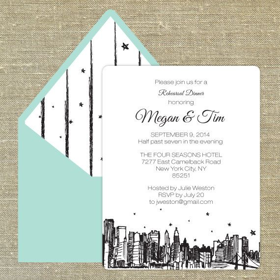 Fabulous New York Themed Ideas Dinner invitations, Rehearsal - business dinner invitation sample