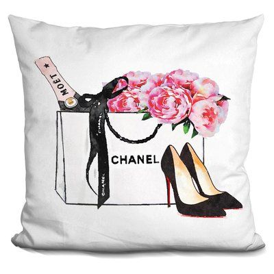 House of hampton isley shopping bag with champagne shoes peony throw pillow
