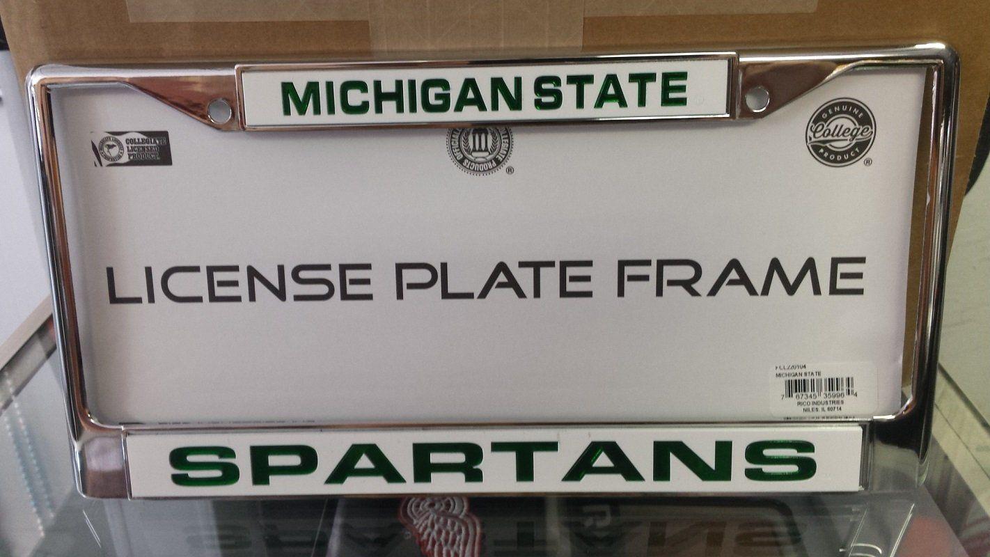 ncaa michigan state spartans white laser cut chrome license plate frame - Michigan State License Plate Frame