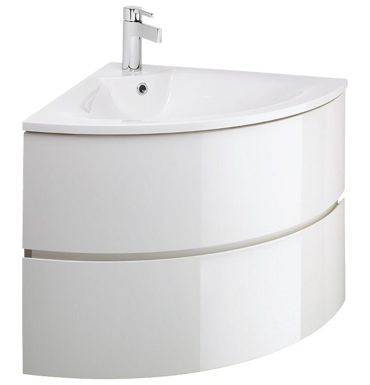 Bauhaus Svelte White Gloss Corner Vanity Unit And Basin