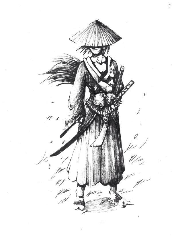 Dessin Samourai Homme Avec Chapeau Tatouage Samourai Art Samourai Guerrier Samourai