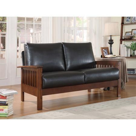 Mission Oak Faux Leather Loveseat Dark Brown Cheap