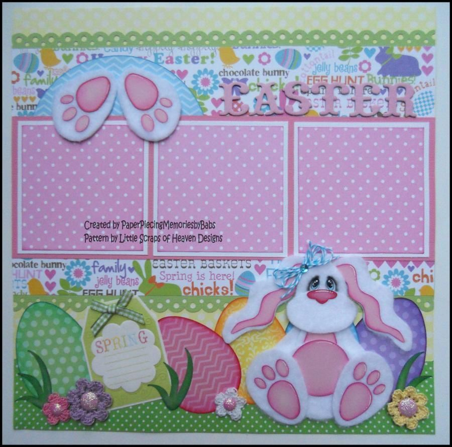 Premade 12x12 Paper Pieced Scrapbook Page Tear Bear Bunny Easter -By Babs