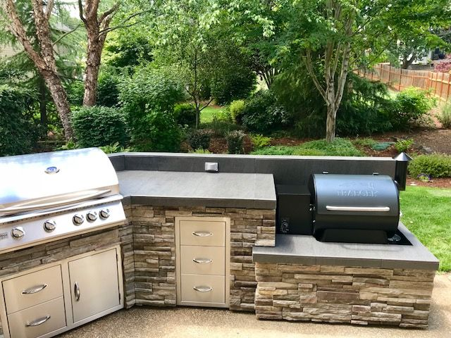 traeger smoker in this outdoor kitchen by sunset outdoor living llc dallas oregon 503 831 on outdoor kitchen with smoker id=81025